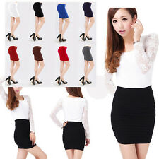 Women's Casual Basic Fitted Stretch Bodycon High Waist Career Mini Pencil Skirt