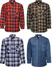 Mens Padded Quilted Lumberjack Check Flannel Work Shirt Jacket Cotton Lined
