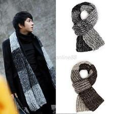 Mens Mohair Long Scarves Gradient Color Scarf Stole Winter Warm Woolen Headscarf
