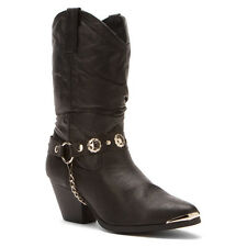 """Dingo Womens BAILEY 10"""" Fashion Toe Slouch Western Boots Black Leather DI522"""