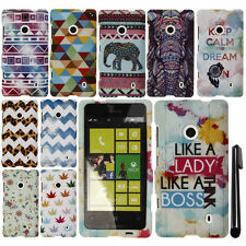 For Nokia Lumia 521 Rubberized PATTERN HARD Protector Case Phone Cover + Pen