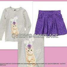 NWT outfit set CRAZY 8 LOVE TO SHINE girls 7-8 KITTY t-shirt top stars skirt lot