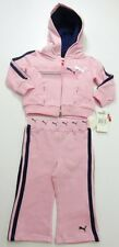 NEW PUMA Toddler Baby Girls 2Pc. Hooded Tracksuit Set Outfit Pink Sz: 12 18 24 M