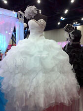 2014 New White Beading Quinceanera Dress Formal Prom Party Ball Gown Custom Made