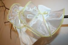 Girls White Nylon and Organza Ruffle Bobby Socks Trimmed in Yellow with Bow
