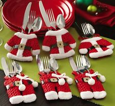 6 Pcs Christmas Decorations Happy Santa Silverware Holders Pockets Dinner Decor
