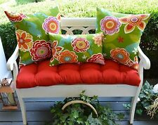 Red Cushion, Red Green Floral Geo Pillows for Bench~Swing~Glider, Choose Size