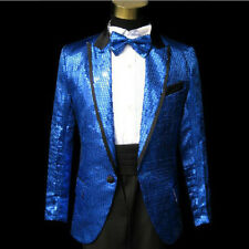Mens Bling Sequins Tuxedo Suit&Pants Gangnam Style Psy Jacket Coat Clothes Blue