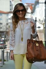 ZARA cream lace Embroidered Guipure Crochet top blouse bloggers Sold Out S M L