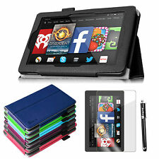 """Folio PU Leather Case Cover Protector Stylus for Amazon Fire HD 7""""(2014 Model)"""