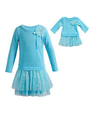 Dollie & Me Girl 7-12 and Doll Matching Blue Dress Outfit Clothes American Girl