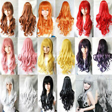 9color Heat Resistant 80cm Long Wavy Curly Cosplay Wigs Full Wig Fancy Dress New