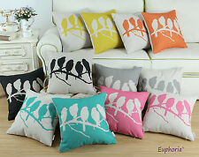 45 X 45cm Solid Colors Birds in Tree Branch Cushion Cover Pillows Shell Home Car