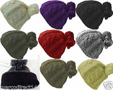 New Style Womens Winter Warm Knitted Oversized Slouch Bobble Pom Hat Beanie Cap