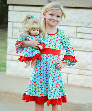 NWT Girl 6-12 and Doll Matching Blue Dress Clothes fit American Girl Dollie & Me