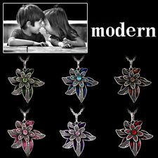 Fashion Silver Retro With Flower Pendant Necklace Crystal Sweater Chain Gift New