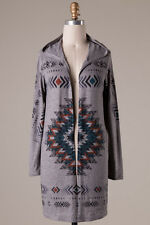 Women's Boutique Gray Aztec Tribal Long Sleeve Knit Cardigan With Hood