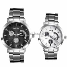 Men's Ladies Stainless Steel Band Wrist Watch for Lovers Birthday Valentine Gift