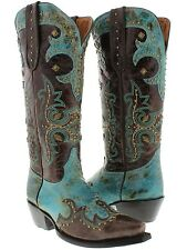 Womens tall cowboy boots ladies turquoise brown leather studded sexy cowgirl new