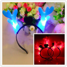 New LED Luminous Antlers Light Up Hairband Flashing Party Xmas Gift Festival