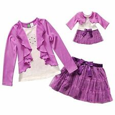 Dollie & Me Girl 7-10 and Doll Matching Purple Outfit Clothes fit American Girl