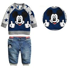 Cartoon Mickey Baby Boys Cute Top T-shirt Hoodie Jeans Pants Cowboy Outfits set