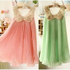Prety Girl Dresses Pleated Chiffon One-Piece Dress Lace Collar Child Sequins Hot