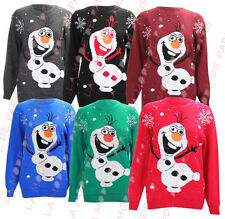 F43 NEW KIDS UNISEX GIRLS BOYS SNOW NOVELTY OLAF FROZEN XMAS KNITTED JUMPER 4-13