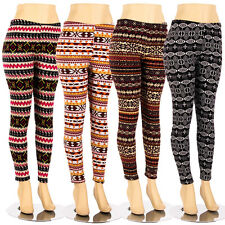 Plus Size Fur Lined Leggings Tribal Winter Print Thick Stretch Pant 1X 2X 3X 4X