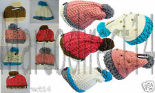 New Style Womens Designer Hand Made Chunky Knit Oversized Slouch Pom Hat Beanie