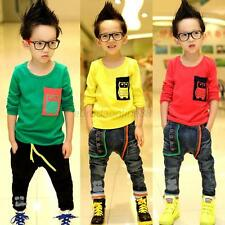 2-7Y Child Baby Boy Fashion Owl Long Sleeve T-shirt Casual Pullover Tops Tee E43