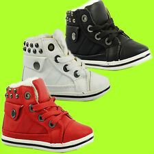 KIDS Girls Boys STUD FUR LINED Winter Lace Hi Top DESERT Boots FLAT Trainers