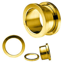 BDJ0043 Polished Screw Fit Yellow Gold Anodized Surgical Steel Ear Tunnel Plugs