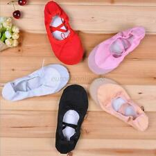 SIZE 30-40 FITNESS CANVAS LEATHER BALLET DANCE SHOES SLIPPER FOR CHILD GIRLS E22