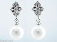 White Round Shell Pearl Platinum Polished Plated Drop Stud Earrings Present