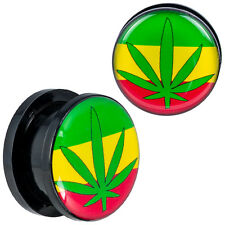 BDJ0200 Pair of Screw-on Black Acrylic w/ Marijuana Leaf Top Design Ear Plugs