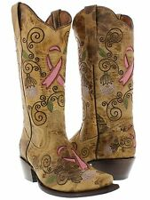 womens new beige tan cowboy boots survivor leather western breast cancer ribbon
