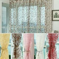 Chic Floral Type Tulle Voile Door Window Curtain Drape Panel Sheer Scarf Valance