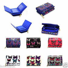 La Moda Uk Ladies Butterfly Print Oilcloth Shiny Trifold Wallet  & Coin Purse