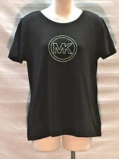 New Michael Kors MK Black Rhinestone Logo Tee-Shirt Short Sleeve NWT $59.50
