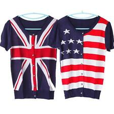 Classic Women Slim Flag Pattern Short-Sleeved Knit Cardigan Top Blouse