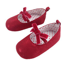 Baby Girl Pre-Walker soft sole Glitter Shoe with velvet bow strap. RED