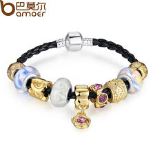 Asian 925 Silver Leather Charm Bracelets for Women With Murano Glass DIY GIFT