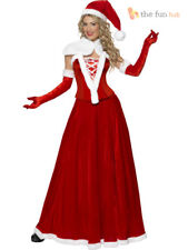 Ladies Deluxe Long Miss Santa Fancy Dress Costume Womens Father Christmas Outfit
