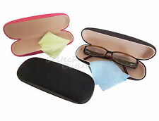 Eye glasses Sunglasses Hard Case Box Crush Resistant Clamshell + Cleaning Cloth