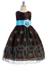 Chocolate Organza Holiday Dress Blue Floral Embroidery Girls Size 5 6 7 8 10 12