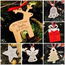 Personalised Wooden Christmas Tree Decorations LOTS OF CHOICE ANY NAME OR TEXT
