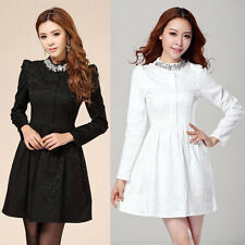 CHEAP &  FREE SHIPPING Fashion Ladies Long Sleeve Beaded Stand Collar Lace Dress