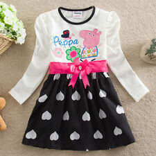 IN-STOCK baby girls cartoon dress peppa pig clothes long sleeve clothing =18M-6Y