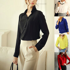 Sexy Fashion Lady Womens Slim Tops Long Sleeve Button Down Shirt Casual Blouse